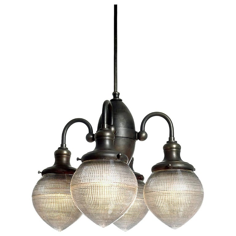 Prismatic Four-Globe Dental Chandelier For Sale