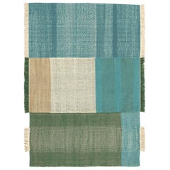 Tres Collection Medium Green Hand-Loomed Wool & Felt Rug by Nani Marquina