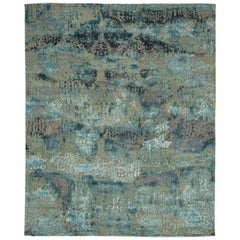 """Tangle"" Blue Hand-Knotted Area Rug, In Stock"