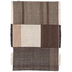 Tres Collection Medium Chocolate Hand-Loomed Wool and Felt Rug by Nani Marquina