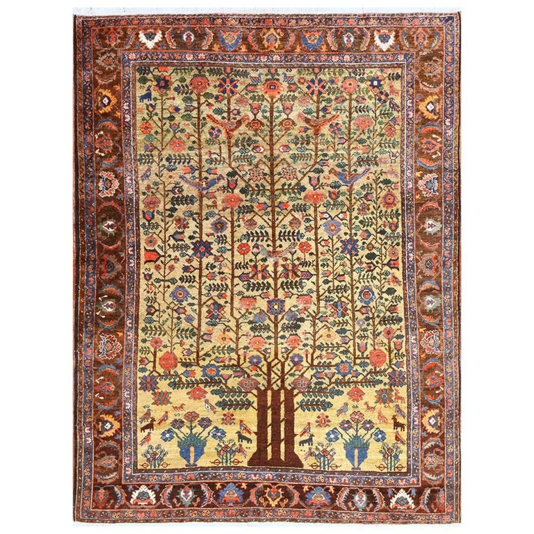 Tree of Life Antique Tabriz Persian Rug