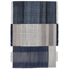 Tres Collection Medium Blue Hand-Loomed Wool & Felt Rug by Nani Marquina
