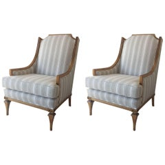 Billy Haines Style Distressed Wood Framed Library Armchairs, Pair