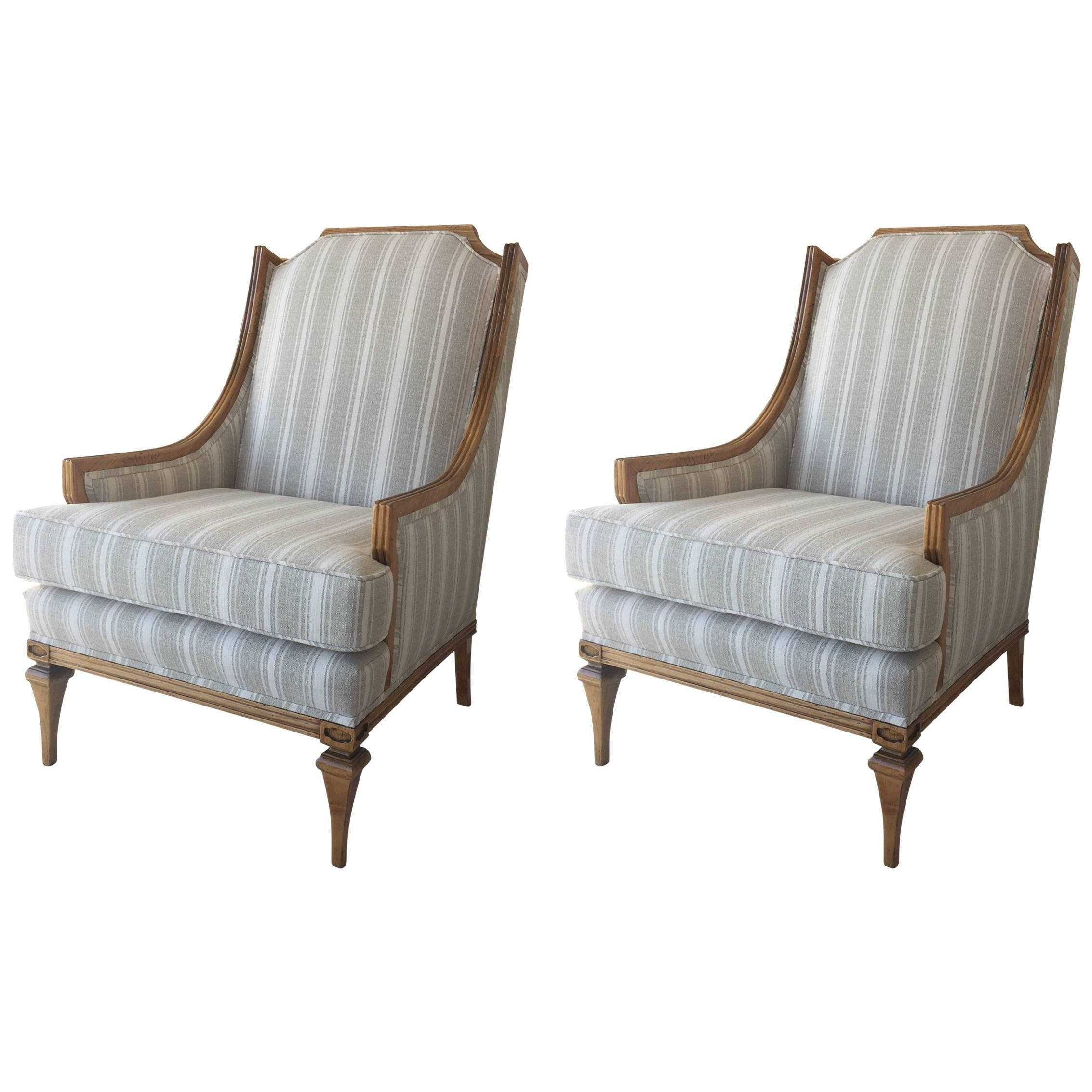 Billy Haines Style Distressed Wood Framed Library Armchairs, Pair For Sale