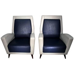 Pair of Italian Club Chairs in the Style of Gio Ponti