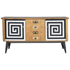 Midcentury Sideboard with Hand-Painted Pattern, 1960s