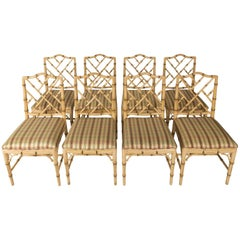 Set of Eight Faux Bamboo Dining Chairs