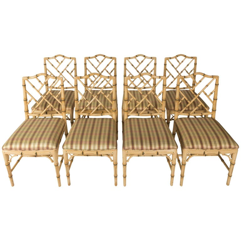 Set Of Eight Faux Bamboo Dining Chairs For