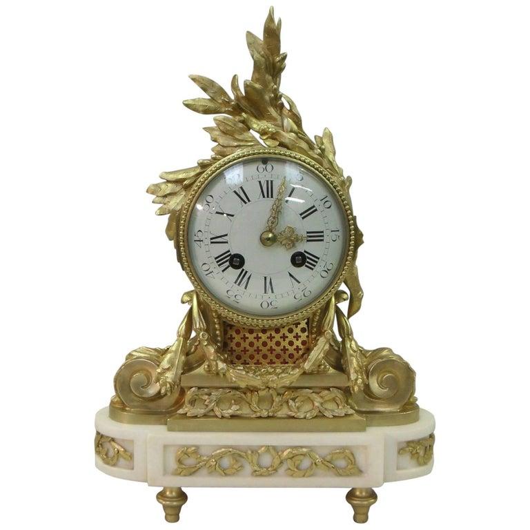 French 19th Century Louis XVI Style Bronze Gilt Mantel Clock