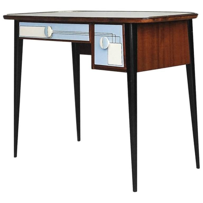 Midcentury Small Desk with Hand-Painted Pattern, 1950s