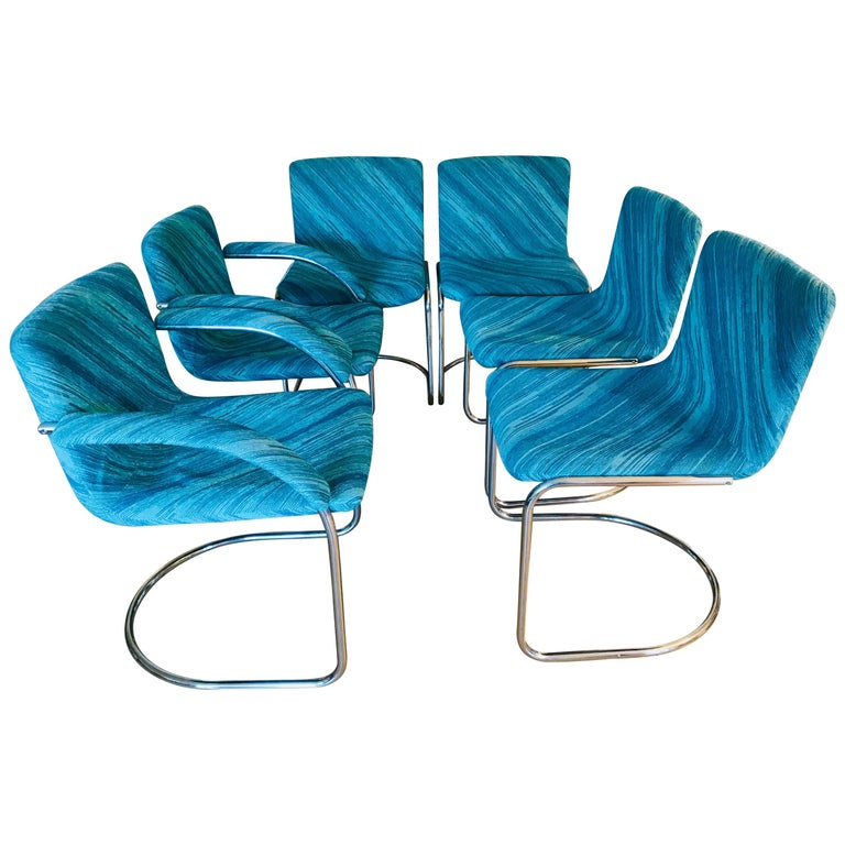 "Six Saporiti Italia ""Lens"" Chairs with Missoni Fabric For Sale"