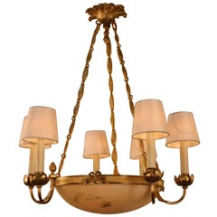 French Bronze and Alabaster Chandelier