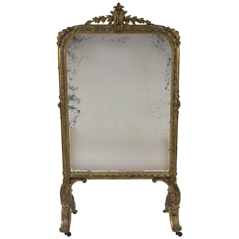 Oversized 18th Century Louis XV Carved Giltwood Fire Screen Mirror