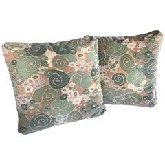 Pair of Vintage 1970s Jack Lenor Larsen Velvet Print Throw Pillows