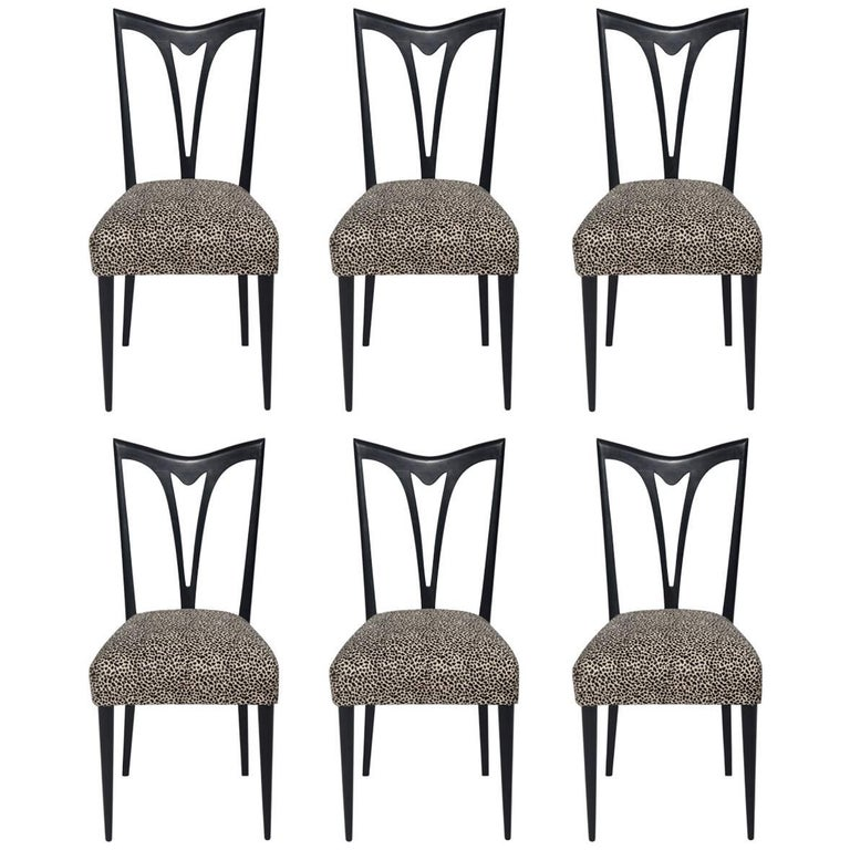 Set of Six Italian Ebonized Dining Chairs with Leopard Print Hair Hide Seats