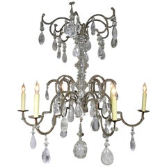 Rare French 19th-20th Century Louis XV Style Metal and Rock-Crystal Chandelier