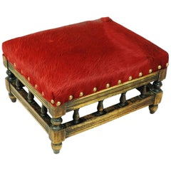 Edwardian Read Horse Leather Footstool