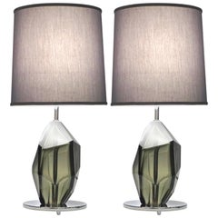 Donà Contemporary Italian Pair of Faceted Solid Rock Smoked Murano Glass Lamps