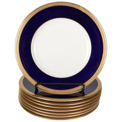 "Eight Syracuse China Gilt Porcelain Fine China ""Old Ivory"" Dinner Plates"