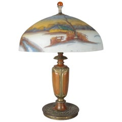 Arts & Crafts Pittsburgh School Gilt and Coppered Reverse Painted Table Lamp