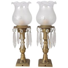 Pair of Petite Electrified Sinumbra Style Brass and Crystal Boudoir Lamps