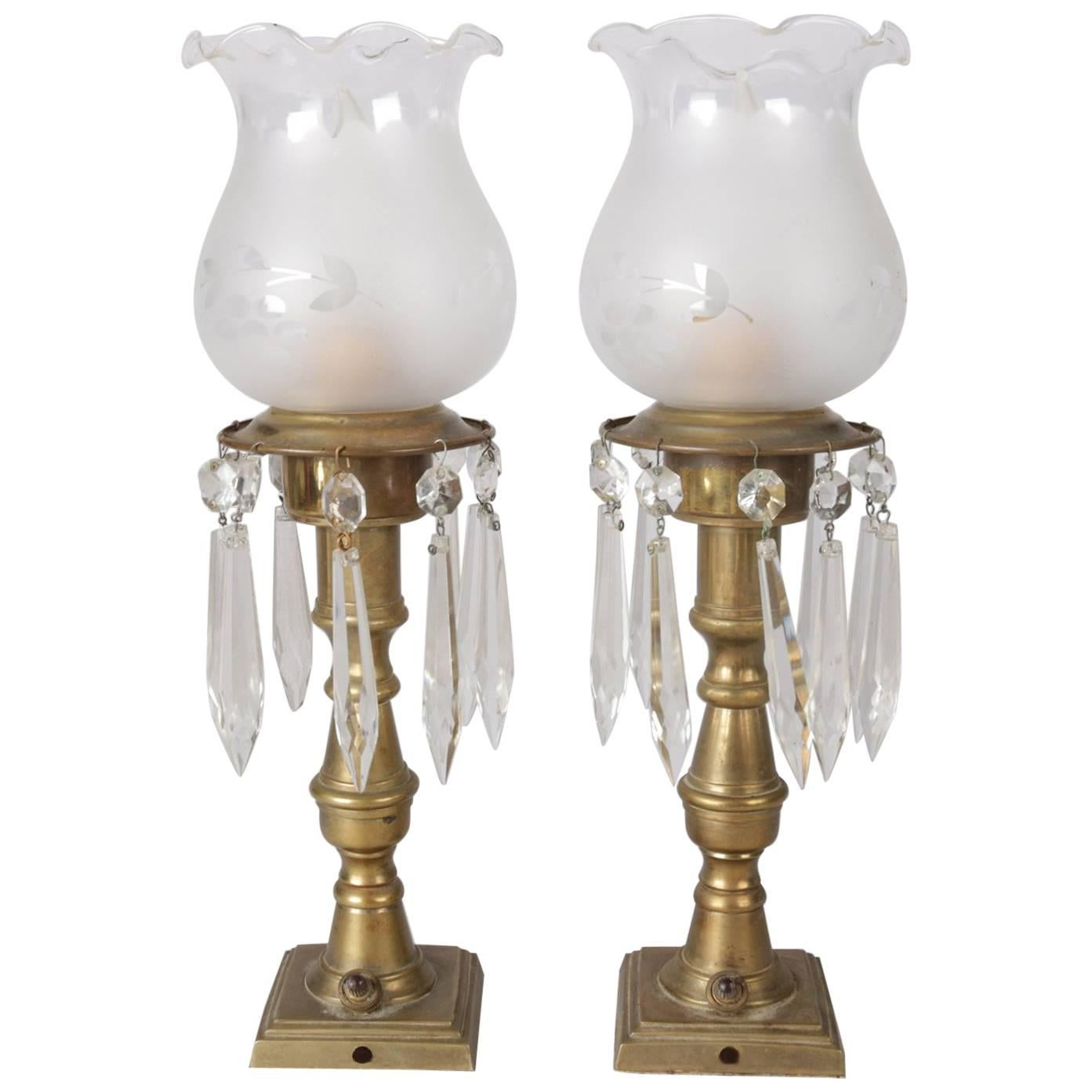 Charming Pair Of Petite Electrified Sinumbra Style Brass And Crystal Boudoir Lamps  For Sale