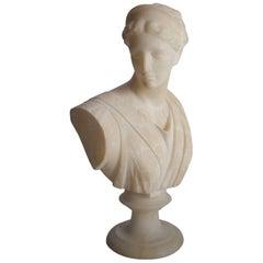 Antique Italian Carved Alabaster Portrait Sculpture Artemis of Versailles