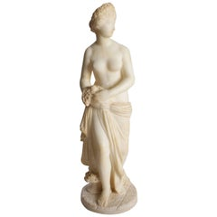 Antique Italian Carved Alabaster Classical Partial Nude Sculpture of Woman