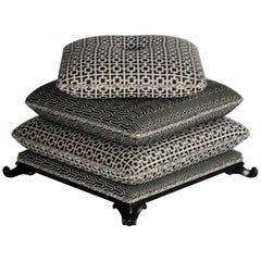 Stacked Pillow Pouf or Ottoman