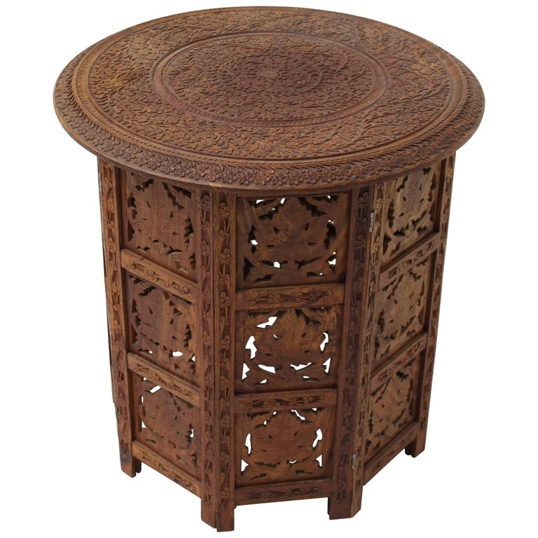 Pierced Carving Teak Round Folding Side Occasional Table At 1stdibs