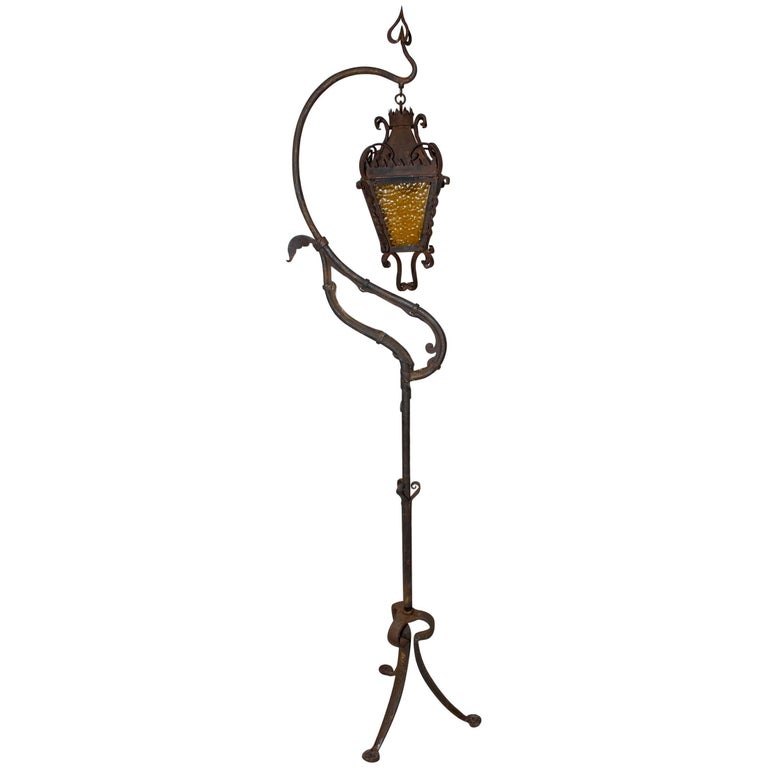 Rare 1920s Wrought Iron Outdoor Floor Lamp