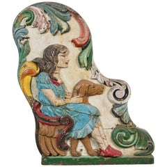 Wood Carved Folk Art Girl and Dog Carousel Chariot Original Paint Surface