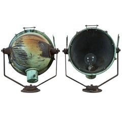 Pair of Nautical Copper Ship Spot Lights Original Patina