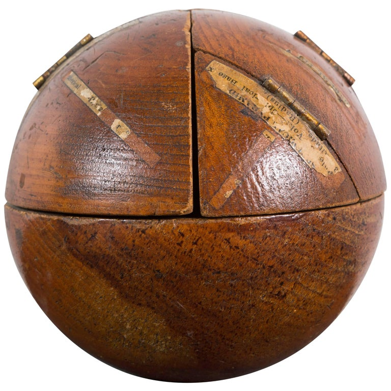 Vintage Wood Geometry Surface and Volume Teaching Sphere For Sale