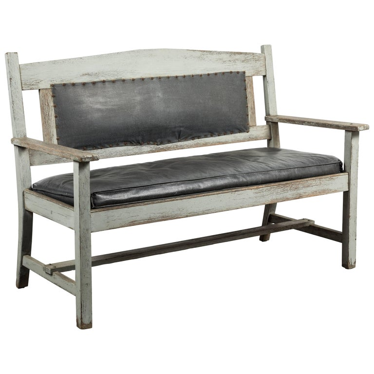 Late 19th Century Wood and Leather Seat Railroad Station Bench
