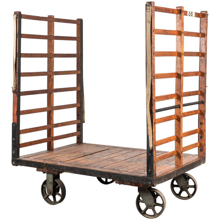 Late 19th Century Midwestern Train Depot Luggage Cart For Sale