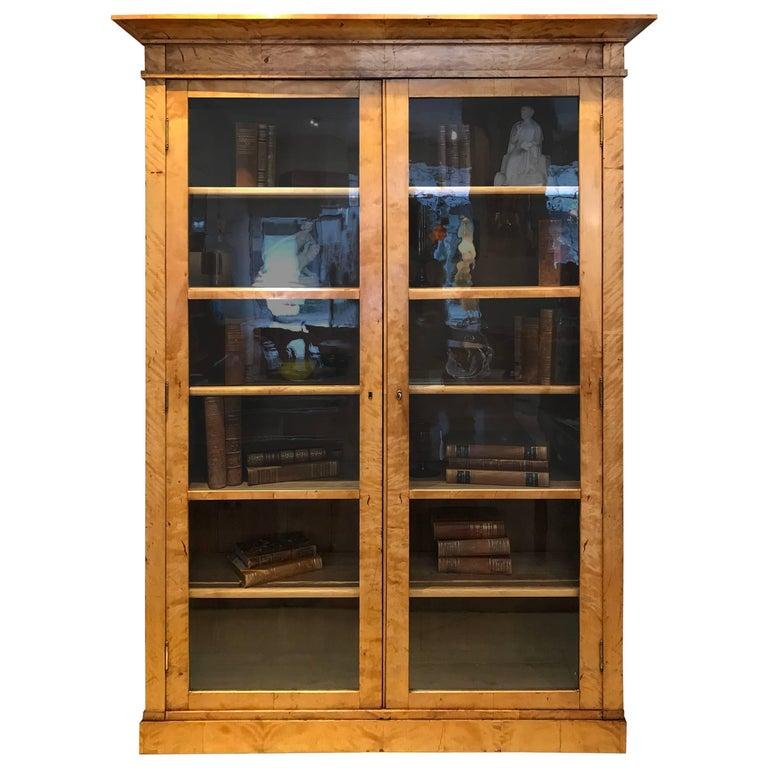 Biedermeier Glass Door Bookcase Of Flame Birch