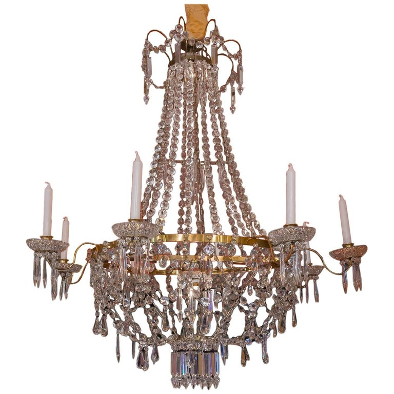French Empire Style, Gilt-Brass and Baccarat Crystal Chandelier, circa 1890