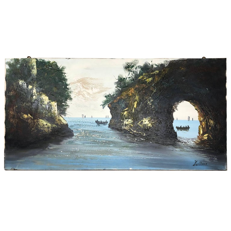 Oil Painting Sea Coast by Alviero Zollino Italy  For Sale
