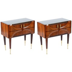Pair of 1950s Italian Brass Feet Nightstand or Side Table Midcentury
