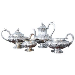 William IV Silver Four-Piece Tea and Coffee Set by William Hewitt, London, 1836