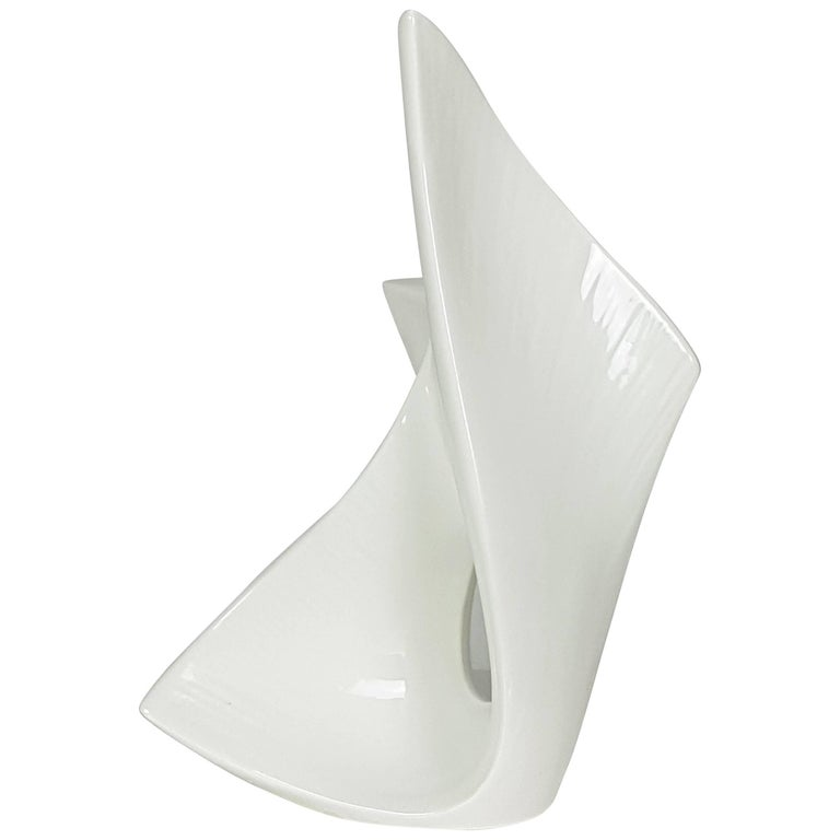 Italian Sculptural White Ceramic Vase from VIBI, 1950s