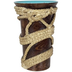 "Rare ""Ropes"" Ceramic Vase by Ugo Zaccagni for Zaccagnini Ceramiche, 1930s"