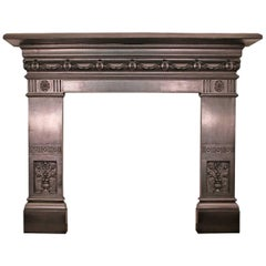 Antique 19th Century Late Victorian Cast Iron Fireplace Surround