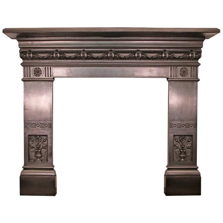 Antique 19th Century Late Victorian Cast Iron Fireplace Surround For