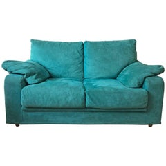 Mid-Century Turquoise / Blue Two-Seat Sofa, Italy