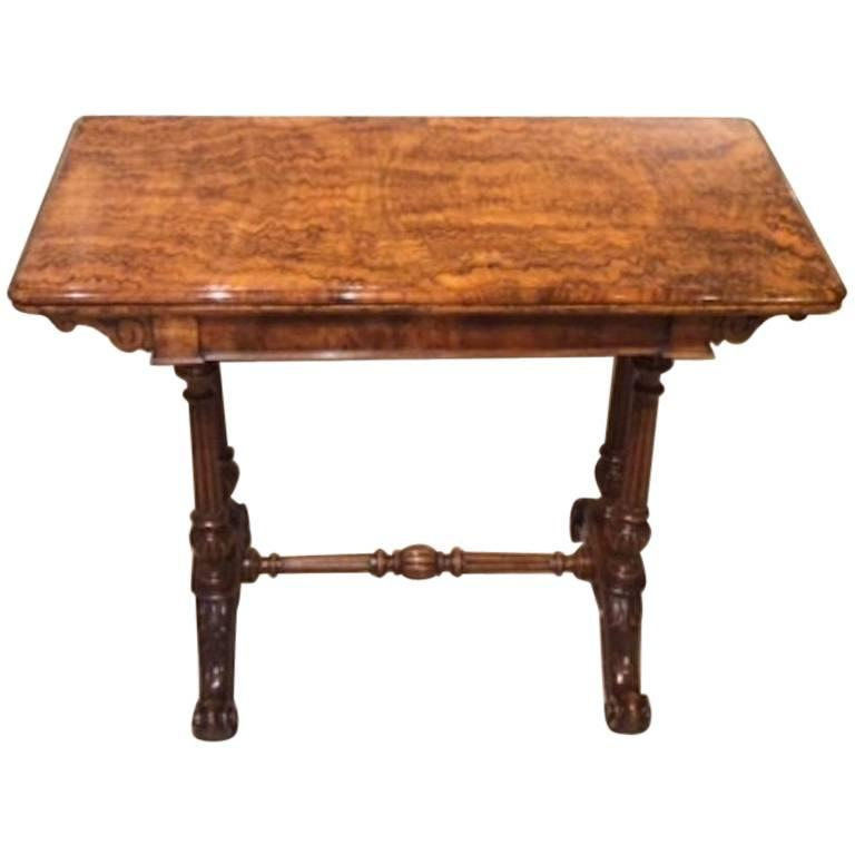 Superb Quality Burr Walnut Victorian Period Fold Over Card Table For