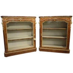 Superb Pair of Victorian Period Burr Walnut and Marquetry Inlaid Pier Cabinets