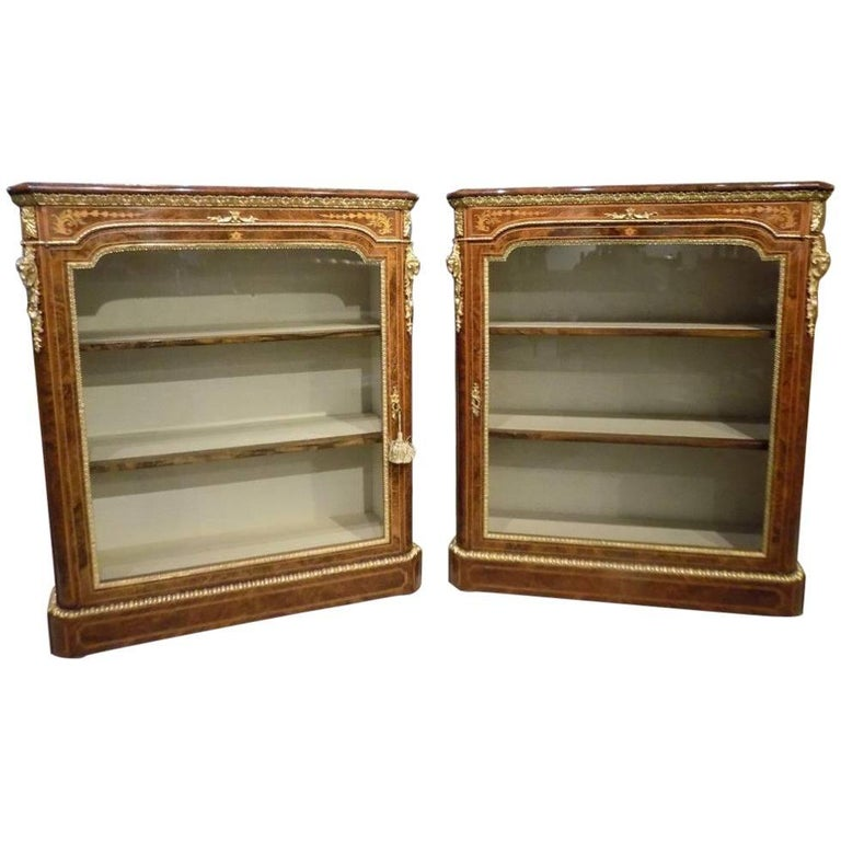 Superb Pair of Victorian Period Burr Walnut and Marquetry Inlaid Pier Cabinets For Sale
