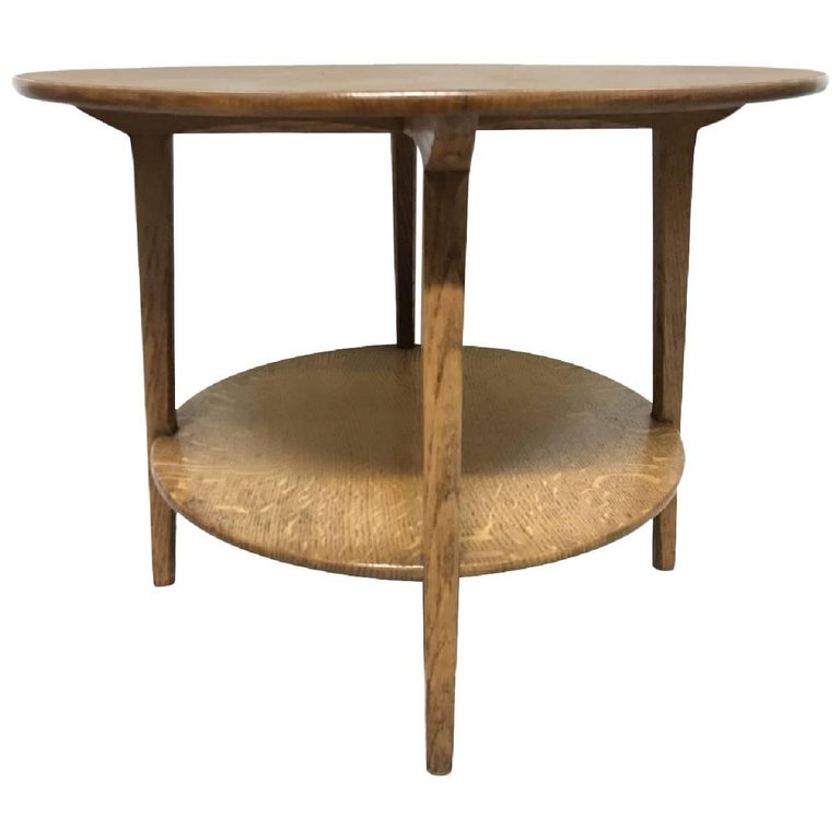 Edward Barnsley, An Arts & Crafts Oak Two-Tier Circular Coffee or Side Table For Sale